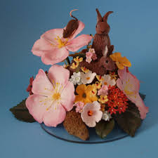 wild animals and wild flowers cake topper