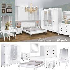 sonata landhaus schlafzimmer komplett set massivholz eiche weiß