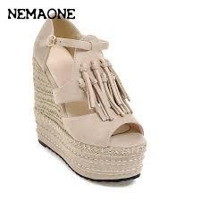 nemaone womens sandals 2017 flat platform wedge sandals solid