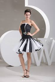 black and white dresses cocktail black white strapless a line
