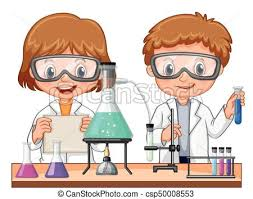 Two kids doing science experiment in class illustration clipart