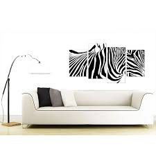 Stenciled Zebra Black On White With Black Leather Trimming