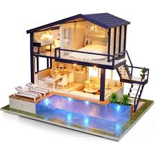 DIY Dollhouse Kit Wooden 3D Doll House Miniature Furnitures LED