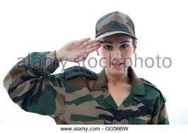 Portrait Of Female Soldier Saluting