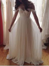 Simple Country Beach Wedding Dresses 2016 Off Shoulder Pleats Draped Plus Size Rustic Garden Gowns