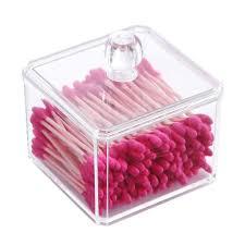 make up organizer badezimmer aufbewahrung wattestäbchen spender mit deckel quadratisch