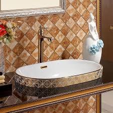 oval überlauf mosaik gold europa vintage style waschbecken badezimmer waschbecken arbeitsplatte keramik becken bad waschbecken taichung