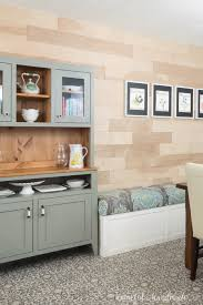 Dining Room Bench Next To Modern Farmhouse Hutch In The