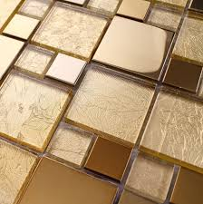 golden color glass mixed golden stainless steel metal mosaic for
