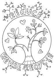 Click To See Printable Version Of Reduce Reuse Recycle Doodle Coloring Page