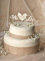 Rustic Cake Topper Wood Heart Engraved Wedding We Do