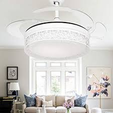 COLORLED Modern Birds Nest Invisible Ceiling Fan Light For Living Room Bedroom Dining 42 Inch