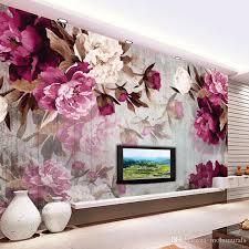 großhandel benutzerdefinierte wandbild tapete moderne wohnzimmer tv hintergrundbild romantische blume vliestapete für schlafzimmer wände 3d