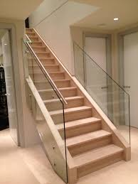 Frameless Glass Stair Railing : Elegant And Safety Glass Stair ... Stairs Amusing Stair Banisters Baniersglsstaircase Create Unique Metal Handrailings With Pinnacle Staircase And Hall Contemporary Artwork Glass Banister In Best 25 Glass Balustrade Ideas On Pinterest Handrail Wwwstockwellltdcouk American White Oak 3 Part Dogleg Flight Frameless Stair Railing Elegant Safety Architecture Inspiring Handrails For Beautiful Amusing Stright Banister With Base Frames As Decor Tips Cool Banisters Ideas And Newel Detail In Brown