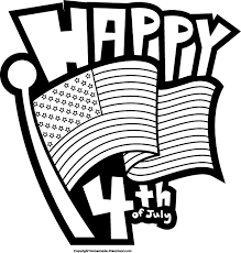 4th July Black And White Clipart