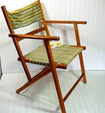 Webbed Lawn Chairs With Wooden Arms by Vintage Wood And Canvas Folding Beach Chair Retro By Divineorders