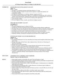 Download Analyst Military Resume Sample As Image File