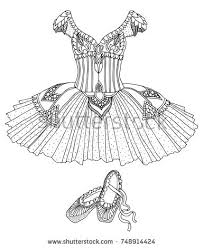 Hand Drawn Costume Of A Ballerina Dress And Shoes Sketch For Anti Stress