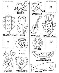 Alphabet Cut & Paste ABC Activity Sheets Letter Matching T U V W