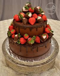 Round Chocolate Strawberry Grooms Cake
