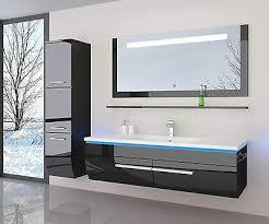 120 cm badmöbel set schwarz weiss hochglanz led