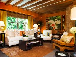Living Room Interesting Orange Living Room Wall Color With White