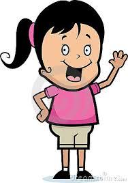 cartoon girl waving hello clipart