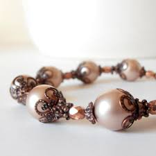 Bridesmaid Bracelets Blush Pink Pearl Rustic Wedding Beaded Jewelry Bridal Sets Antiqued Copper Vintage Style Gift Idea Handmade
