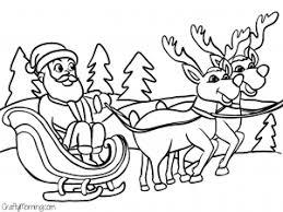 Santas Sleigh Reindeer Free Coloring Page