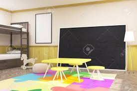 Children's Room With Large Blackboard, Yellow Table And Chairs ...