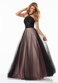 a line prom gown featuring a beaded lace bodice style 99058