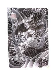 Japanese KOI Fish BY Horimouja ART Wave Curtain Door Window Wall Hanging Painting Printed DecorationCollection Free Shipping In Tattoo Accesories From