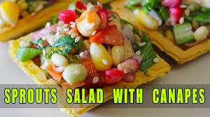 healthy canapes recipes nutritious sprouts salad on canapes healthy salad recipe