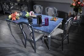 casa padrino luxus barock esszimmer set blau grau silber esstisch und 4 esszimmerstühle barock esszimmermöbel