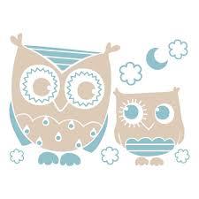 stickers chambre bébé garcon sticker mural chouette grises et bleu motif bébé garçon pour