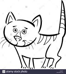 Cartoon Illustration Of Cute Tabby Cat Or Kitten For Coloring Book