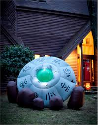Halloween Blow Up Decorations by Giant 10 U0027 Inflatable Green Alien Crashed Ufo Site Halloween