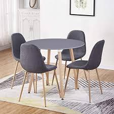 goldfan moderner matt lackierter runder küchen esstisch mit 4 esszimmerstühlen geeignet für esszimmer büro wohnzimmer grau
