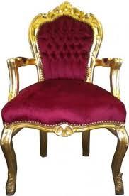 barock esszimmer stuhl bordeaux gold mit armlehnen