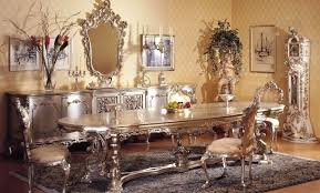 Luxuriant Decorating Italian Dining Tables Mahogany Furniture For Room Ideas With Classic Ornate Mirror And Silvery Buffet
