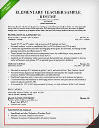 Teacher Resume Skills Section Example