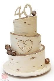 Rustic Birch Inspired 40th Birthday Cake