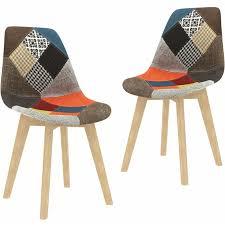 vidaxl esszimmerstühle 2 stk patchwork design mehrfarbig stoff