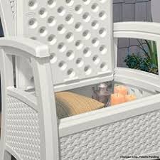 Suncast Resin Patio Furniture by Deck Storage Box White End Table Patio Chest Trunk Plastic Wicker