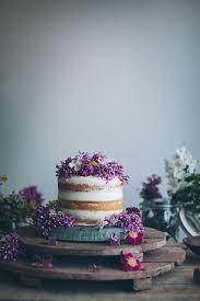 Naked Wedding Cake Purple Flowers
