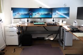 Ikea Linnmon Corner Desk Hack by Ikea Gaming Computer Desk Setup With Drawer Also Triple Monitors
