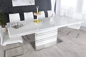 casa padrino moderner yacht design esstisch weiß hochglanz ausziehbar 160 220 cm esszimmer tisch