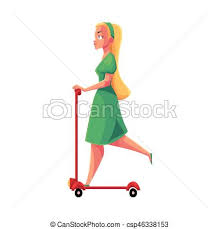 Young Pretty Blond Girl Woman In Dress Riding Kick Scooter Side View Vector