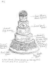 Drawn wedding cake tier cake 8