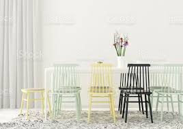 esszimmer mit farbigen stühle stockfoto und mehr bilder blume